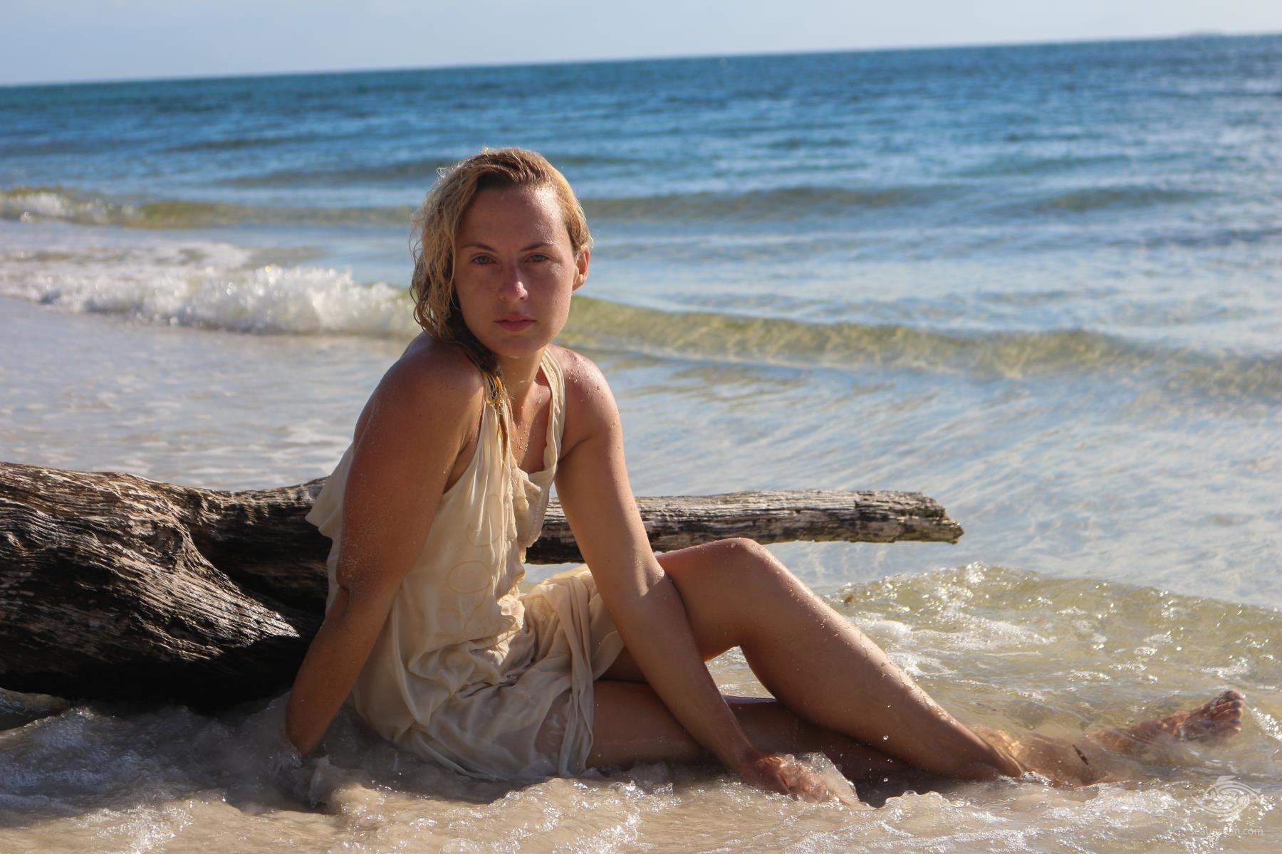 Renee Blundon at Ras Kisimani beach Mafia Island Tanzania